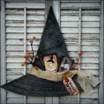 Wicked Witch hat, wall hanger pattern- collage sheet prim primitive