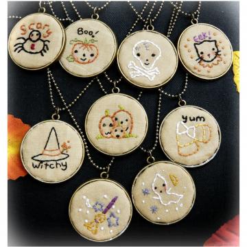Frightfully Sweet Halloween Pendants embroidery pattern #363 pumpkin