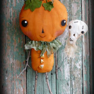 Cutest pumpkin in the patch- Prim pumpkin doll and skull balloon pattern- #335.