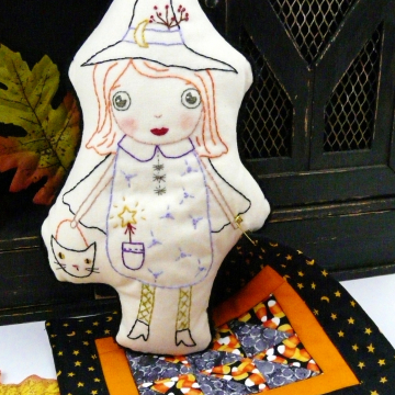 good witch embroidery doll with mini quilt pattern