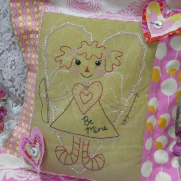 Be mine Cupid raggedy ann Stitchery pattern