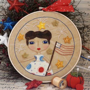 Life, liberty, & Freedom Stitchery hoop art pattern girl flag
