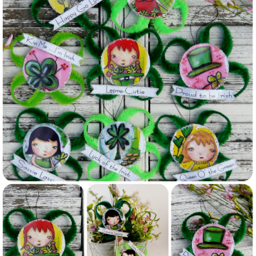 St. Patrick's day ornaments and banner pattern #353.