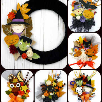 Halloween wool wreath and corsage pattern