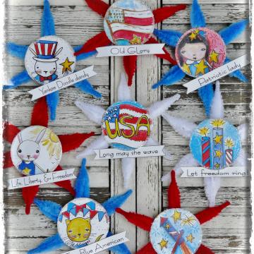 Patriotic Americana ornaments 8 banner pattern #358.