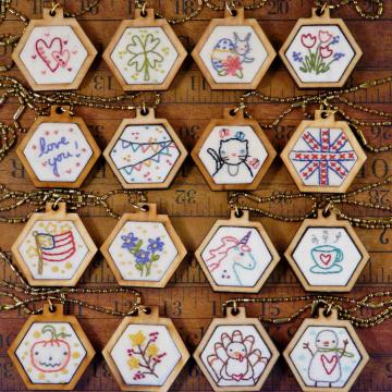 mini hexie embroidery pendant designs