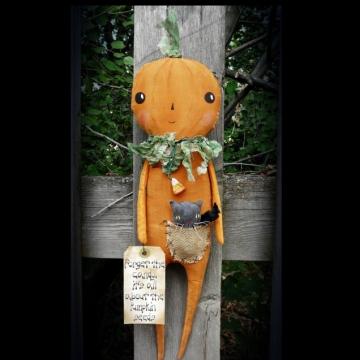 Peter Pumpkin doll and kitty cat pal pattern-prim primitive halloween